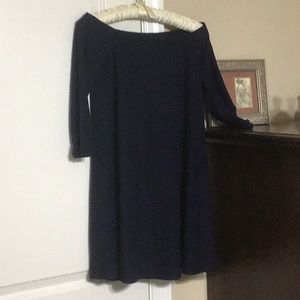 Off the shoulder, navy tunic top.